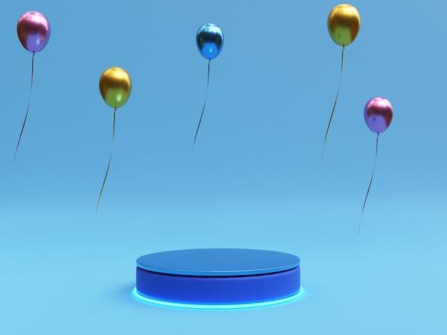 Pódio de pedestal azul escuro realista com luz brilhante em balão multicolor para mostrar e exibir anúncio de produto pela técnica de renderização em 3d.