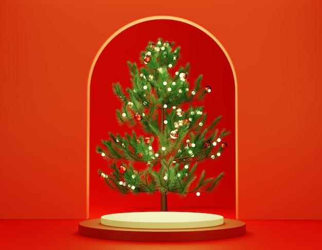 Pódio de pedestal de cilindro branco vermelho 3d abstrato com árvore de natal atrás da parede