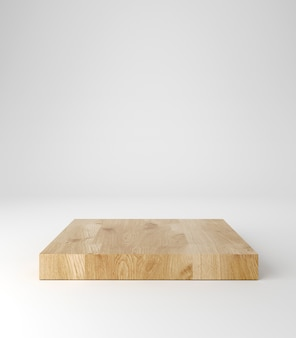 Pódio de pedestal de madeira, formato quadrado, suporte para produtos, renderização em 3d.