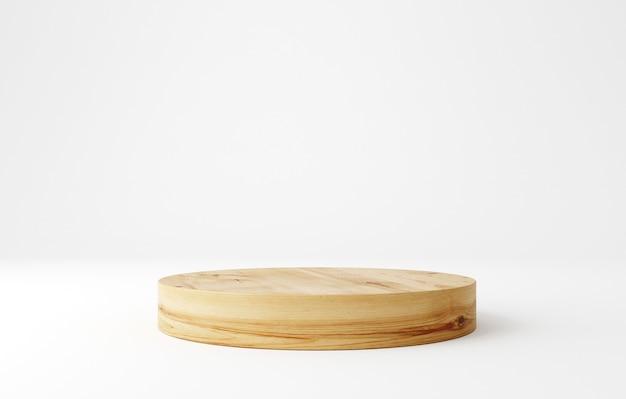 Pódio de pedestal de madeira, formato redondo, suporte para produtos, renderização em 3d.