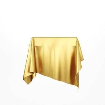 Pódio de pedestal de tecido de seda dourada. pano dourado. renderização 3d.
