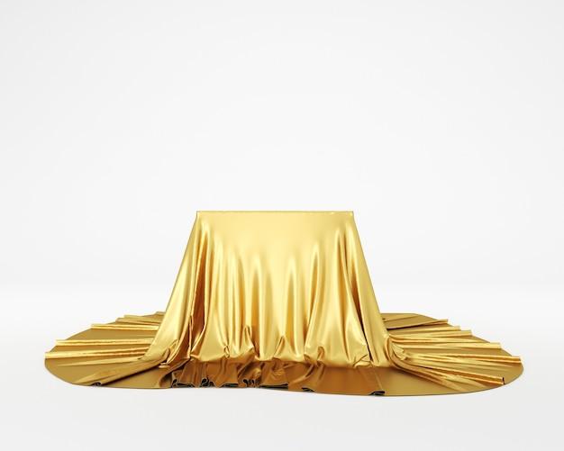 Pódio de pedestal de tecido de seda dourada. renderização 3d.