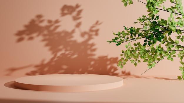 Pódio de pedestal pastel com folhas de árvore. exibição de plataforma de promoção de produtos de beleza. ilustração 3d