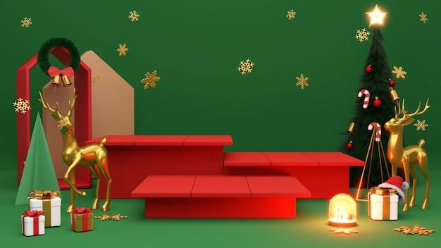 Pódio de pedestal sobre fundo verde. , renderização 3d de promoção de natal ou ano novo.