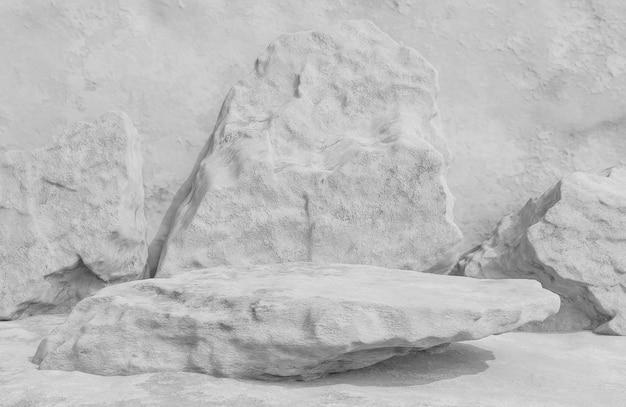 Pódio de pedra cinza para apresentação de produto em estilo luxuoso de fundo de parede de pedra, modelo 3d e ilustração.