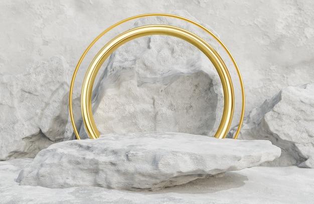Pódio de pedra cinza para apresentação do produto e arco dourado no estilo luxuoso do fundo da parede de pedra., modelo 3d e ilustração.