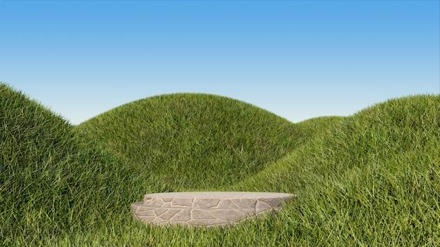 Pódio de pedra e campo de grama em pequenas colinas para exibição de produtos de montagem.