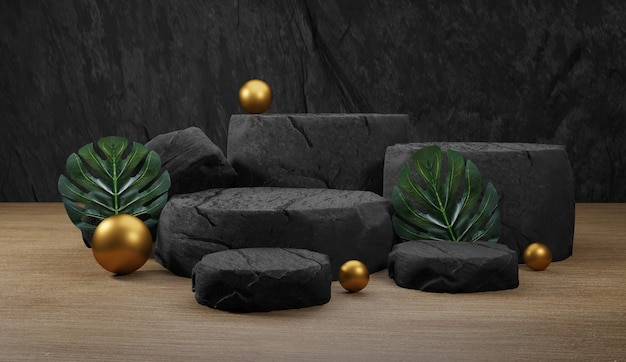 Pódio de pedra natural com folhas tropicais. pano de fundo para exibição de produtos, renderização em 3d
