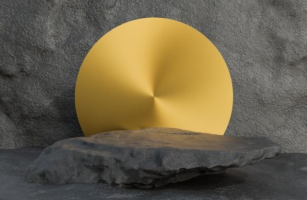 Pódio de pedra preta para apresentação do produto e arco dourado no estilo luxuoso do fundo da parede de pedra., modelo 3d e ilustração.