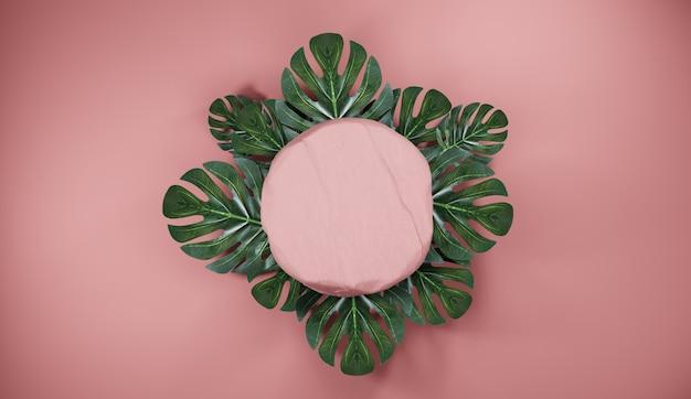 Pódio de pedra rosa natural com folhas tropicais. pano de fundo para exibição de produtos, renderização em 3d