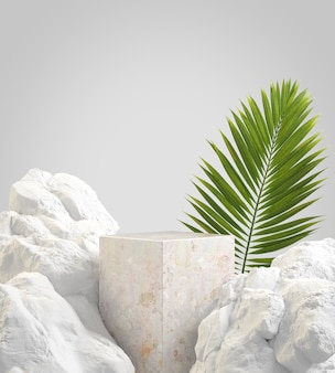 Pódio de pedra vazio de maquete com rocha de conceito natural