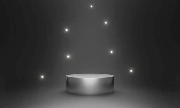 Pódio de produto de prata renderizado 3d