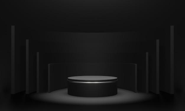 Pódio de produto preto renderizado em 3d