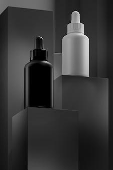 Pódio de produtos com cosméticos em frascos