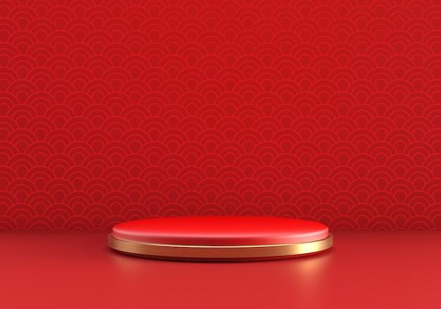 Pódio de produtos no estilo ano novo chinês com parede vermelha