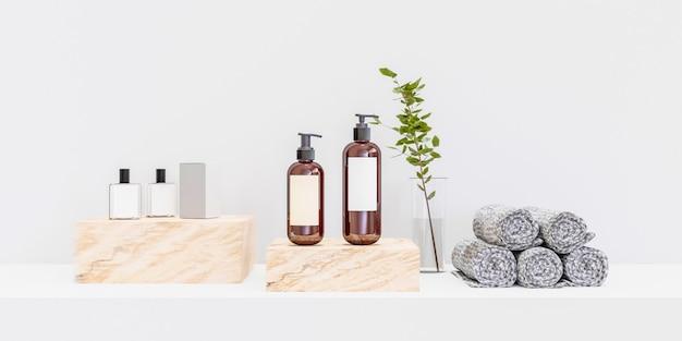 Pódio de promoção de produto realista e modelo de maquete de cosméticos. renderização 3d