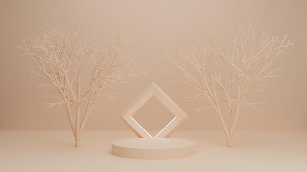 Pódio de renderização 3d, suporte, vitrine em luz pastel, fundo abstrato com árvores para produto premium