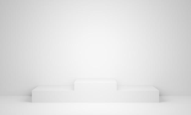 Pódio de suporte branco com renderização 3d