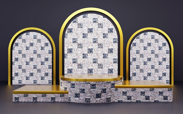 Pódio de textura de mármore geométrica de luxo em azul e ouro para apresentações de produtos. renderização 3d. fundo escuro.