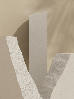 Pódio de tijolo de bloco branco com sombra de folha de luz natural para apresentação do produto renderização em 3d