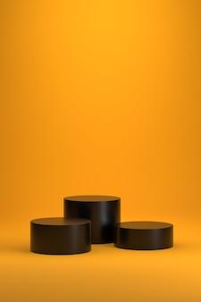 Pódio de três cilindros pretos em fundo gradiente amarelo.