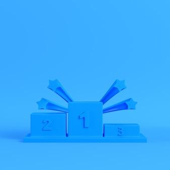 Pódio de vencedores com estrelas em fundo azul brilhante