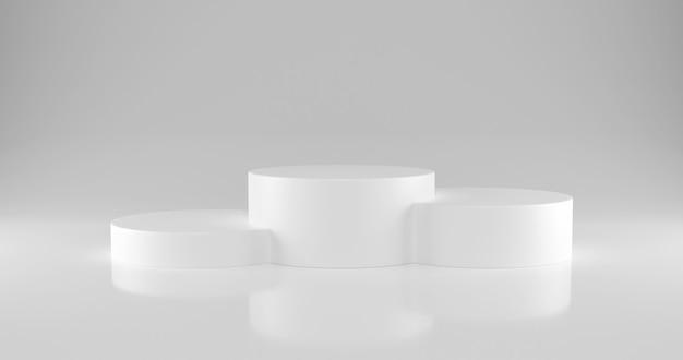Pódio de vencedores de cilindro branco com três lugares no ranking.