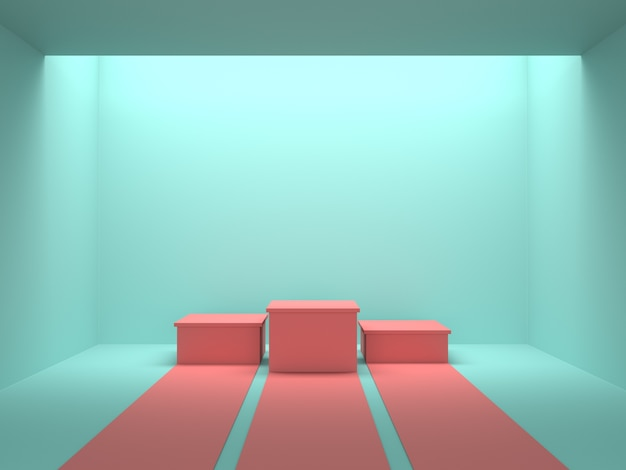 Pódio de vencedores rosa pastel vazio na sala de cor verde com luz do teto