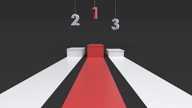 Pódio de vencedores vazios com o número de suspensão. renderização 3d.