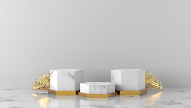 Pódio de vitrine de luxo caixa de mármore branco e folhas de palmeira dourada sobre fundo branco