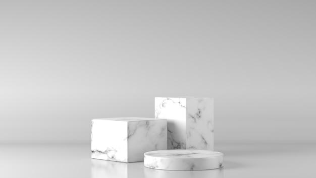 Pódio de vitrine de mármore branco luxo três no fundo