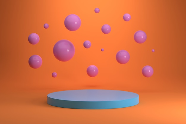Pódio do cilindro azul e esferas rosa em fundo gradiente laranja.