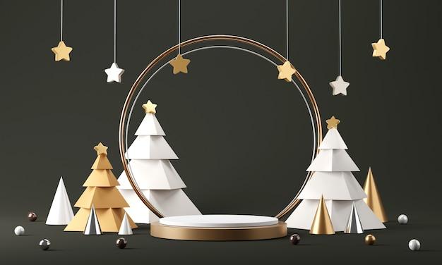 Pódio do cilindro com decoração de natal