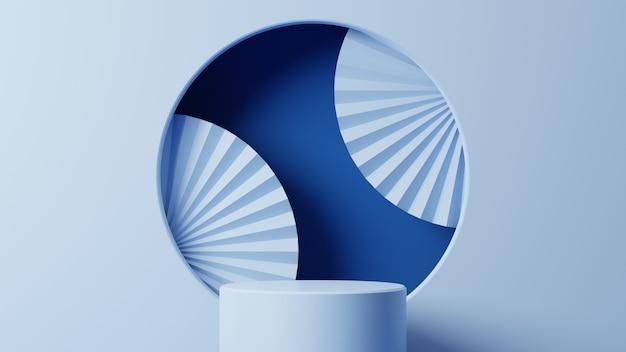 Pódio do cilindro com leque de papel