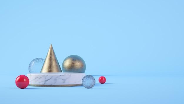 Pódio do cilindro de mármore branco para apresentação do produto em fundo azul renderização 3d