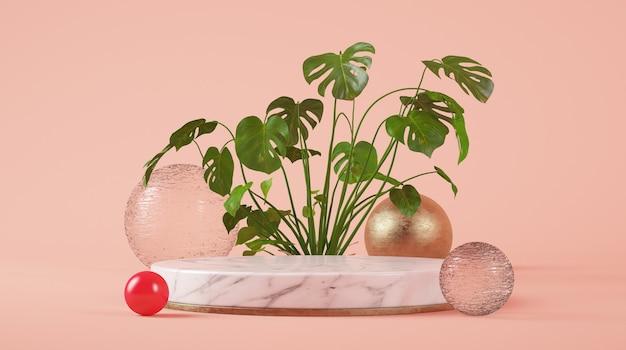 Pódio do cilindro de mármore branco para apresentação do produto em fundo rosa renderização 3d