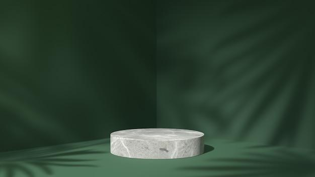 Pódio do cilindro de mármore branco para colocação de produto em fundo de folhas de sombra