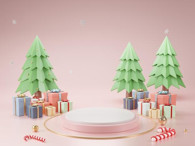 Pódio do cilindro e fundo abstrato mínimo para o natal, forma geométrica de renderização 3d, palco para o produto.