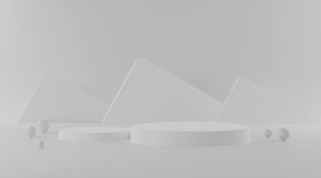 Pódio do cilindro em fundo branco.
