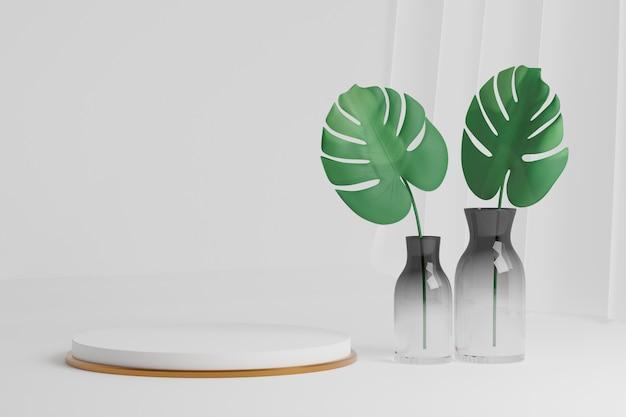 Pódio do cilindro em ouro branco e planta monstera deixam na decoração do frasco com cortina branca sobre fundo branco. imagem de renderização de ilustração 3d.