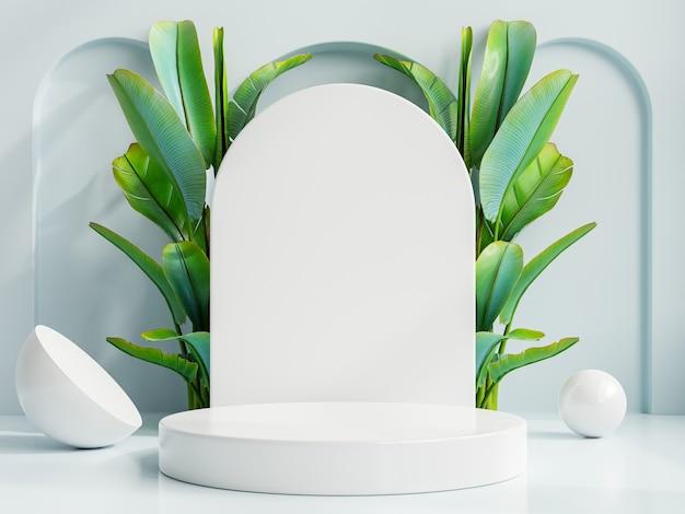 Pódio do círculo de apresentação do produto com fundo azul. renderização 3d