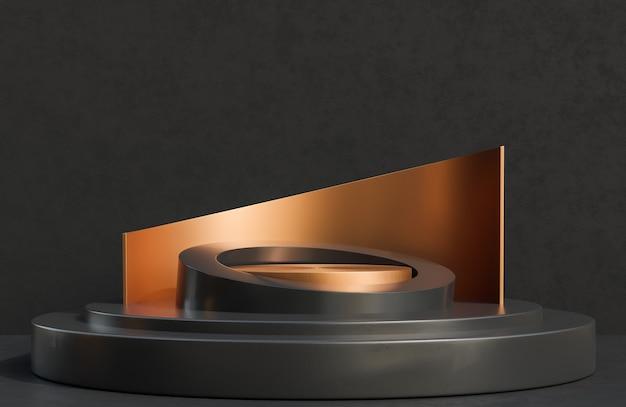 Pódio do círculo de cobre para apresentação do produto no estilo luxuoso do fundo da parede de concreto preto., modelo 3d e ilustração.