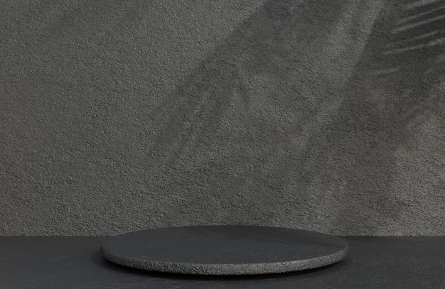 Pódio do círculo de pedra preta para apresentação do produto no estilo luxuoso do fundo da parede de pedra, modelo 3d e ilustração.