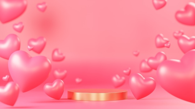Pódio do círculo dourado para apresentação do produto com muitos objetos 3d de corações no fundo rosa., modelo 3d e ilustração.