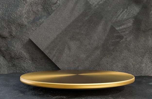Pódio do círculo dourado para apresentação do produto no estilo luxuoso do fundo da parede de pedra, modelo 3d e ilustração.