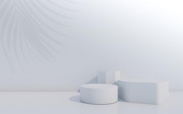 Pódio do frasco cosmcosmético com folha verde sobre fundo verde. renderização 3d