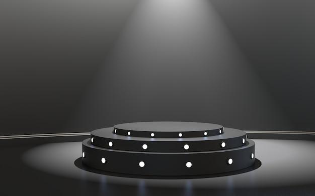 Pódio do palco com iluminação do palco e cerimônia de premiação em fundo preto