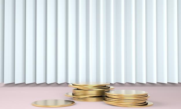 Pódio do produto com dinheiro em fundo pastel 3d