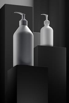 Pódio do produto com hidratante em garrafas