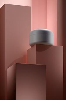Pódio do produto com hidratante em um recipiente